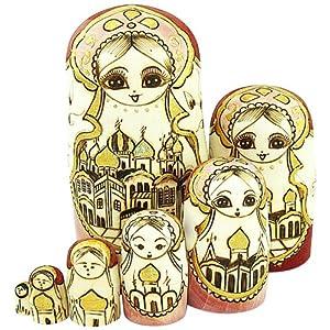 doll 套娃 俄罗斯纯手工雕刻直筒彩绘烫金城堡建筑套娃7层 0701