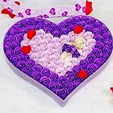 孙小圣 香皂花 香皂花礼盒玫瑰花批发92朵浪漫小熊 紫色-图片