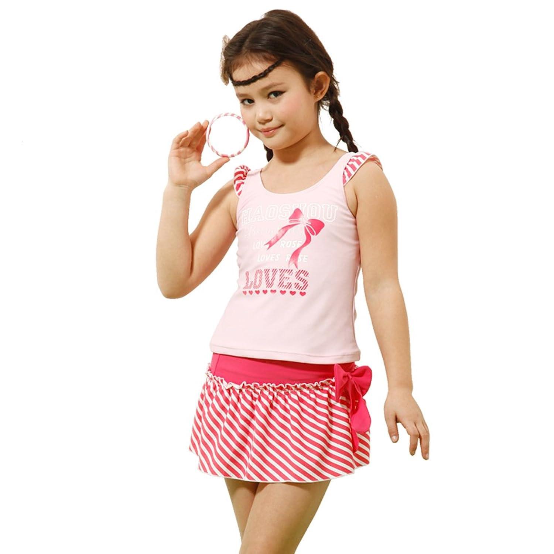 号手 品牌 号手儿童泳衣女童游泳衣 女大童泳装 可爱分体 粉/红 40