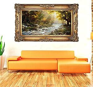 戈雅goya,手绘油画《霞光万丈》挂画,实木外框,最大外