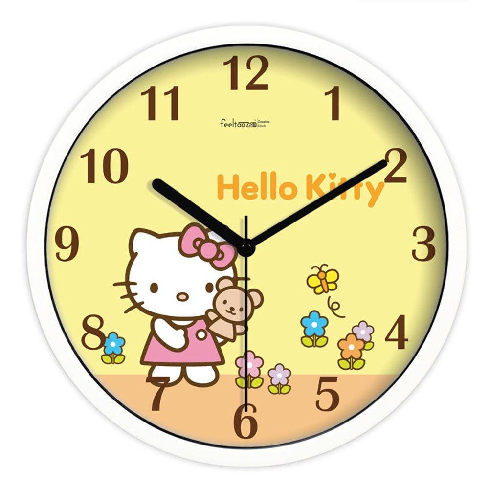 feeltao 飞淘 正品创意可爱hello kitty儿童房卡通钟表 挂钟 超静音