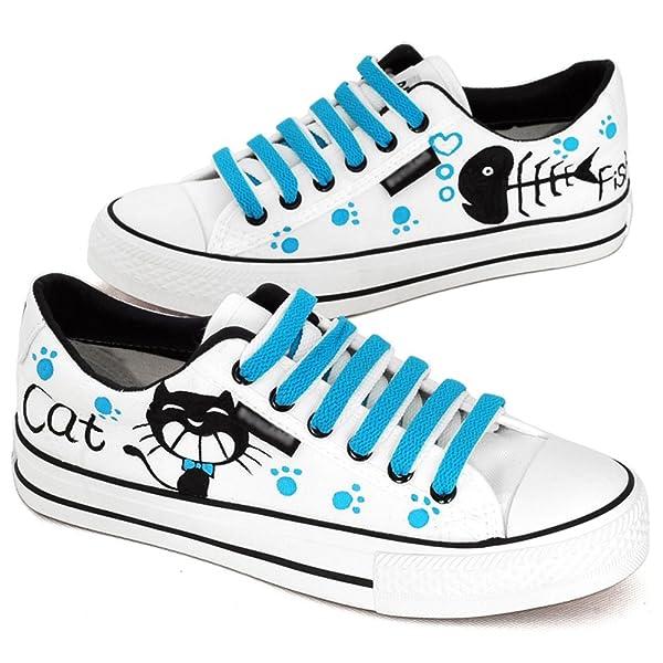个性帆布鞋 情侣鞋 猫和鱼图案手绘鞋 系带低帮鞋 平底布鞋 b02109白
