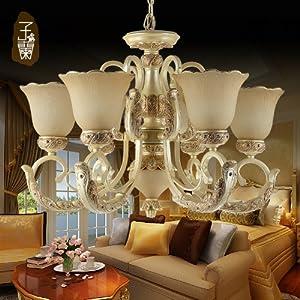 子兰 子兰欧式吊灯客厅灯复古客厅吊顶灯6头吊灯美式客厅灯8头吊灯 3