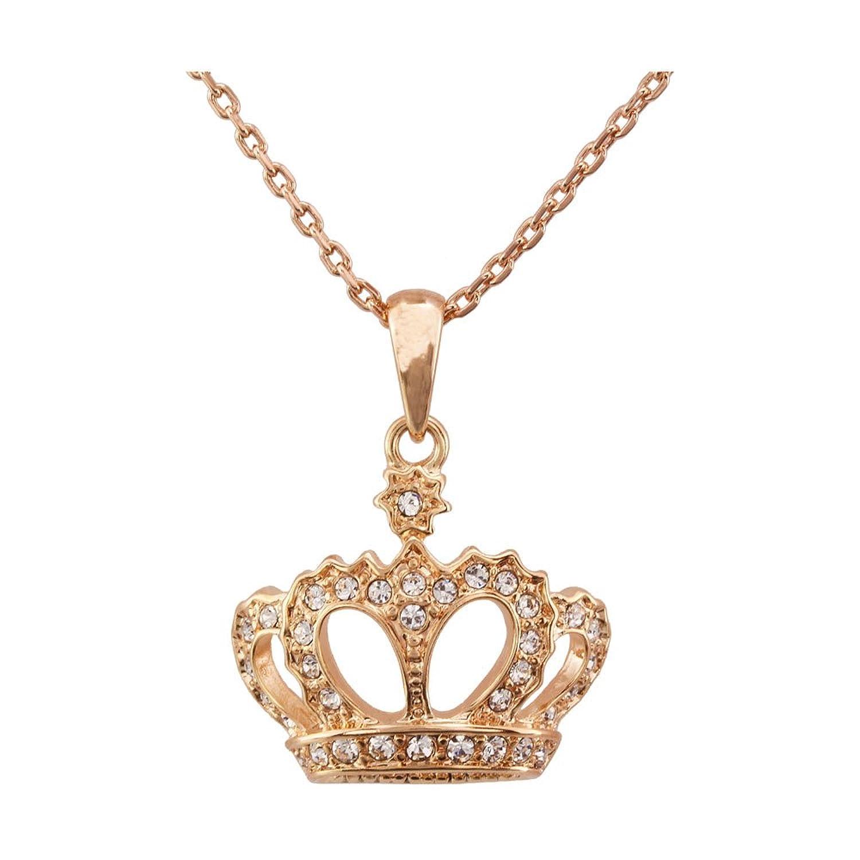 fm42 法式公主皇冠吊坠 装饰长链 韩版百搭项链 时尚闪钻金色n16