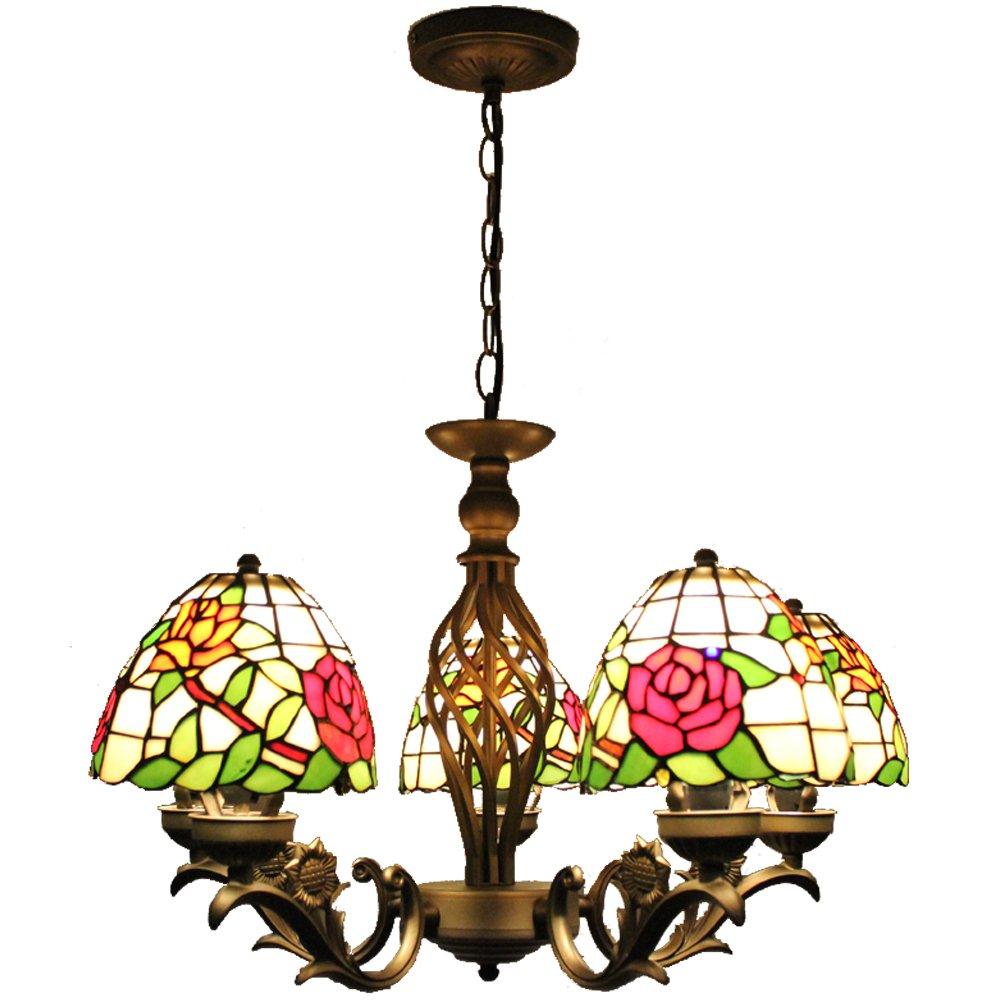 宜轩灯饰tiffanylamp欧式5头吊灯田园简约卧室小客厅创意多头吊灯酒吧