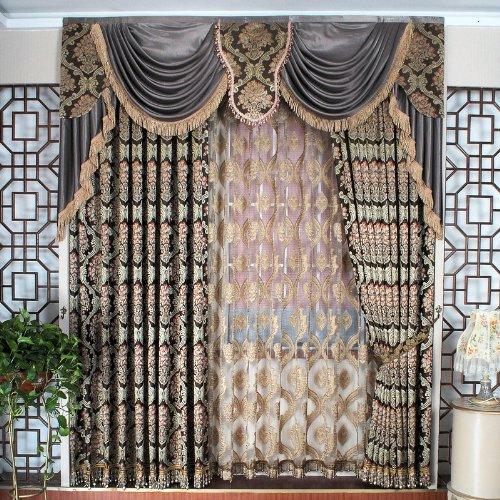 花之语 欧式大花咖啡色雍容华贵窗帘布料 可定制成品