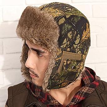 momiton摩米特 韩版男式帽子冬天迷彩牛仔雷锋帽 时尚