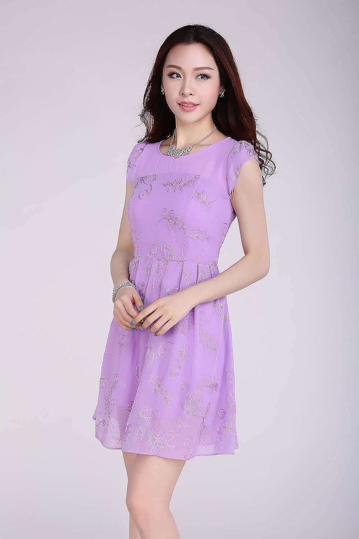 dress love 爱衣裳 8610 2014夏装新款女士短袖连衣裙,韩版女装绣花雪