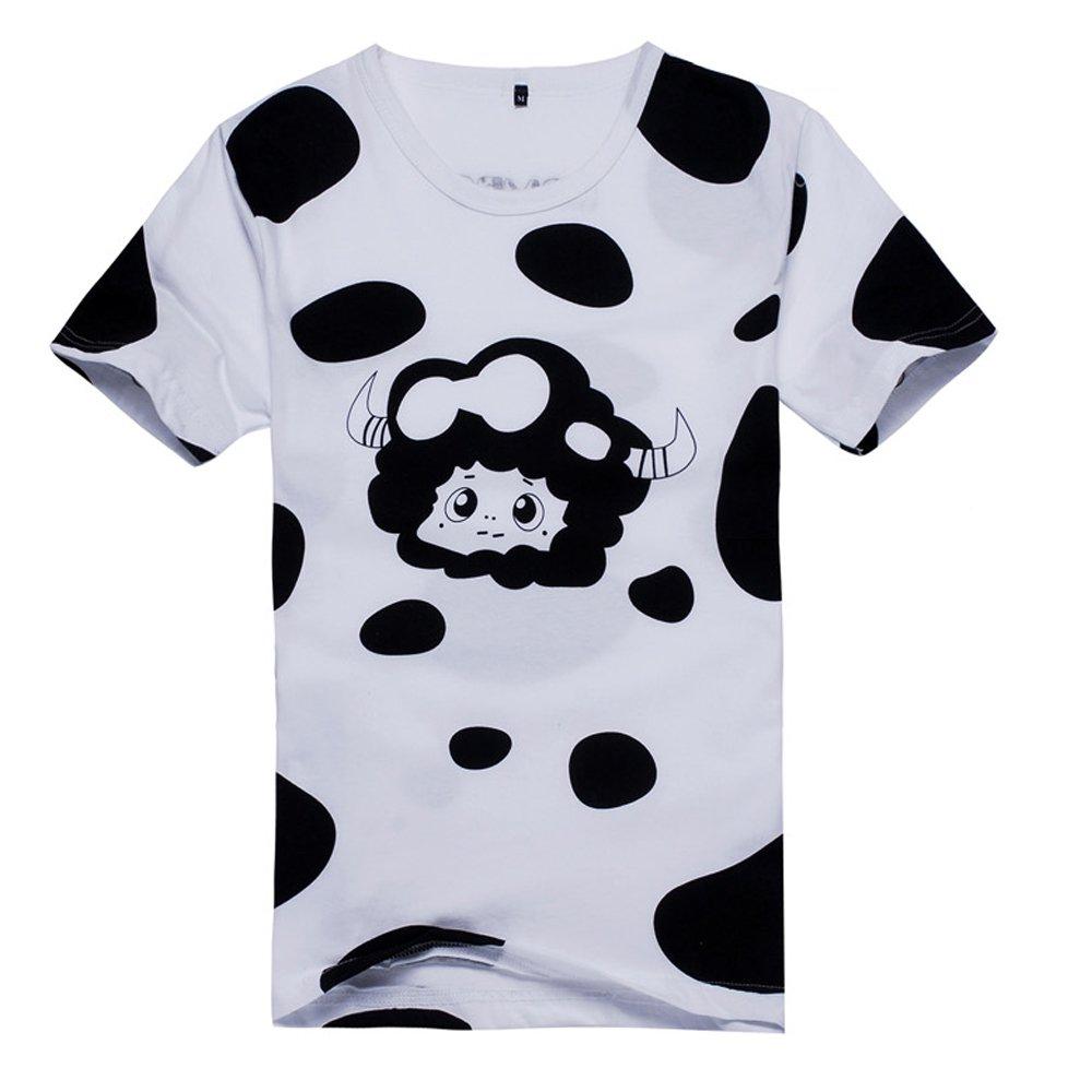 星河动漫 家庭教师 蓝波牛奶斑点花纹 卡通动漫t恤 男女款短袖t恤 (m)