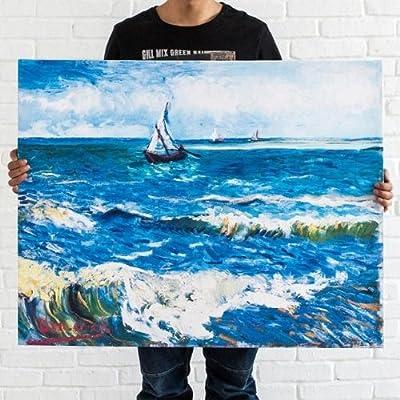 积累小家 梵高 海边帆船 无框画客厅装饰画现代油画壁画帆布画卧室