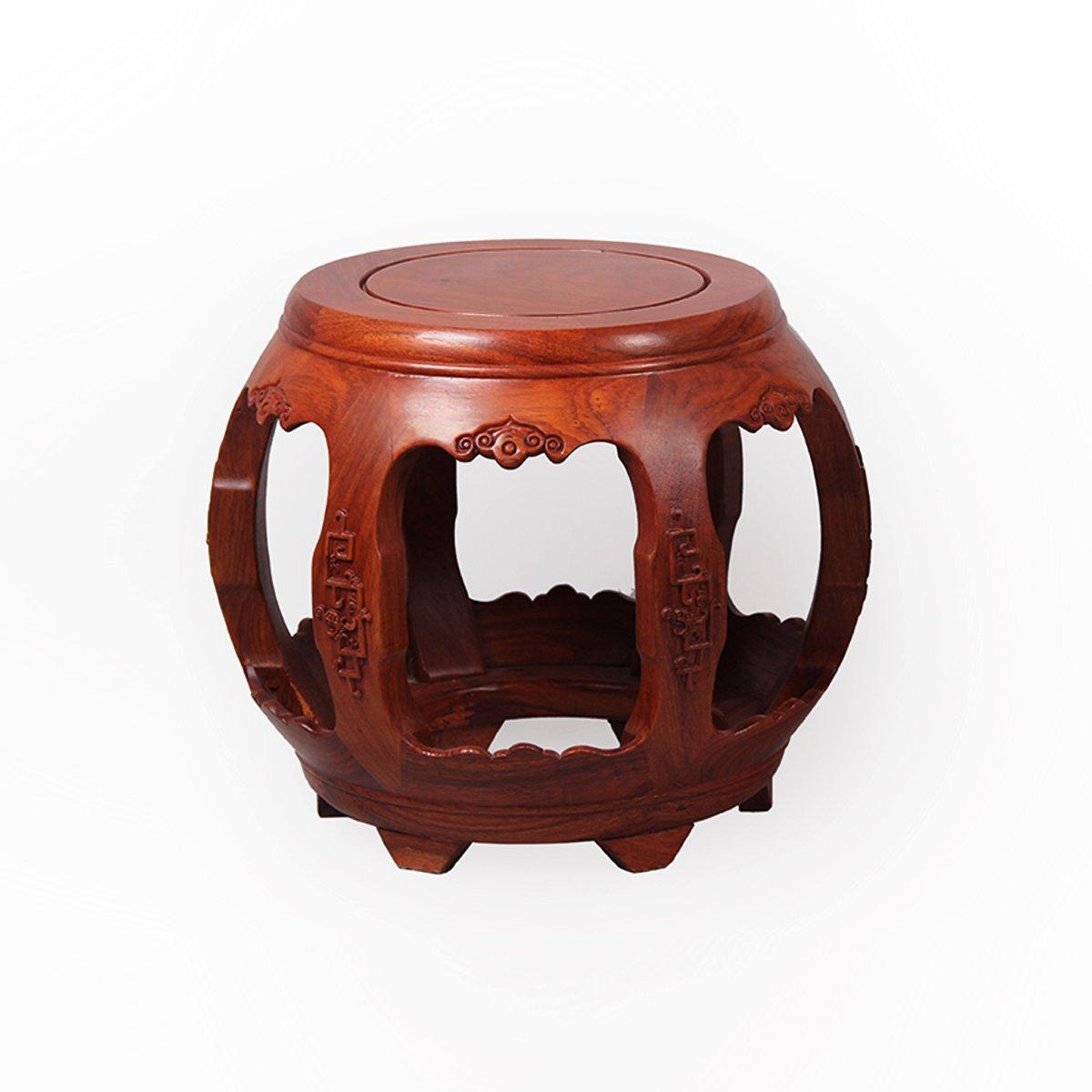 特价龙上龙 仿古雕花鼓凳圆凳 非洲花梨木矮凳红木换鞋凳 小木板凳