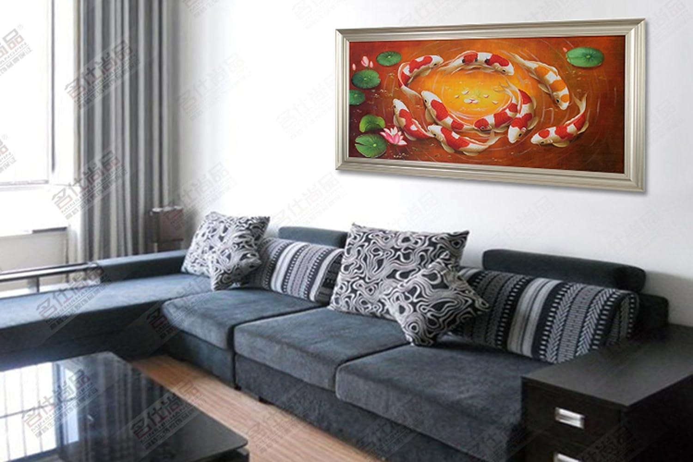 名仕尚品 客厅装饰画现代中式纯手绘艺术壁画沙发背景