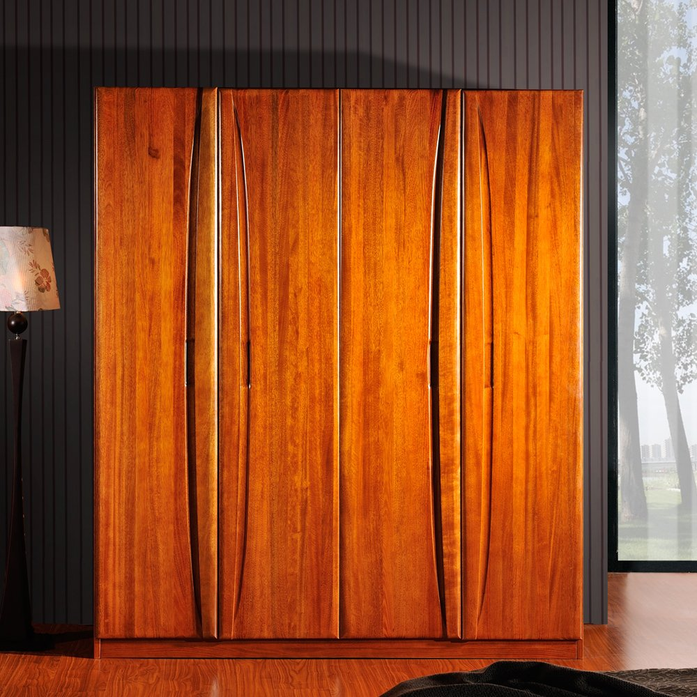 嘉文原创 四门衣柜 胡桃木纯实木衣柜 新中式实木家具