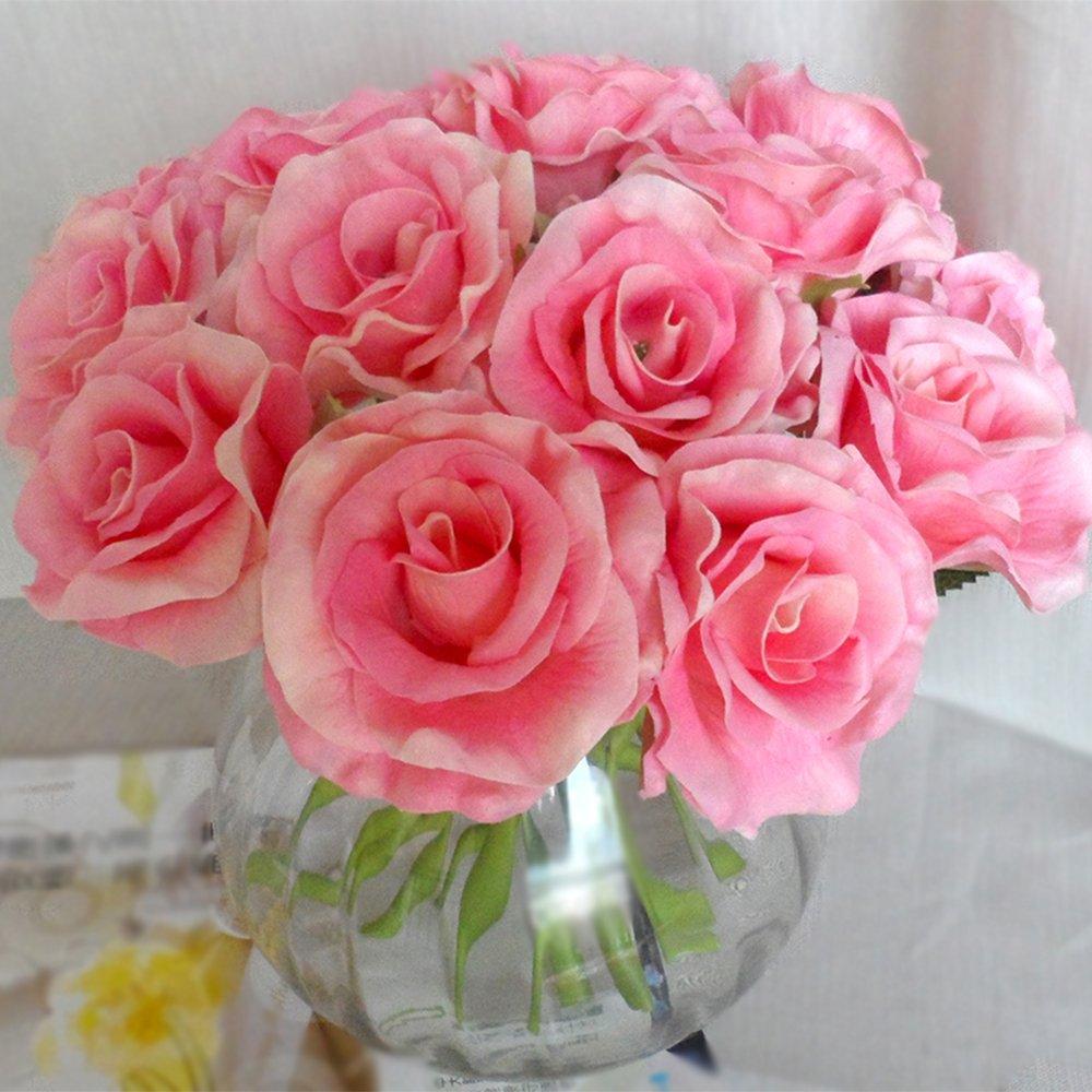 超手感pu玫瑰仿真花 客厅装饰花假花单枝批发 欧式 花艺 摆放花卉 (粉