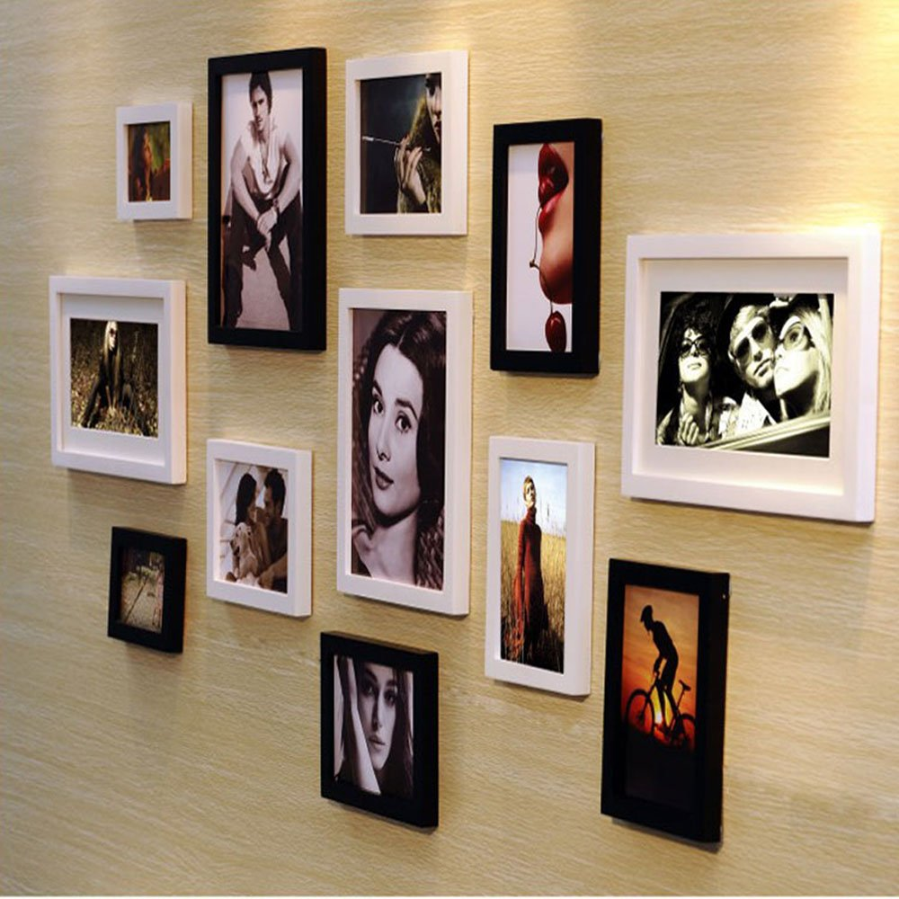 佰御祥 12框黑白经典实木照片墙欧式个性家装家饰相框墙相框组合 (黑
