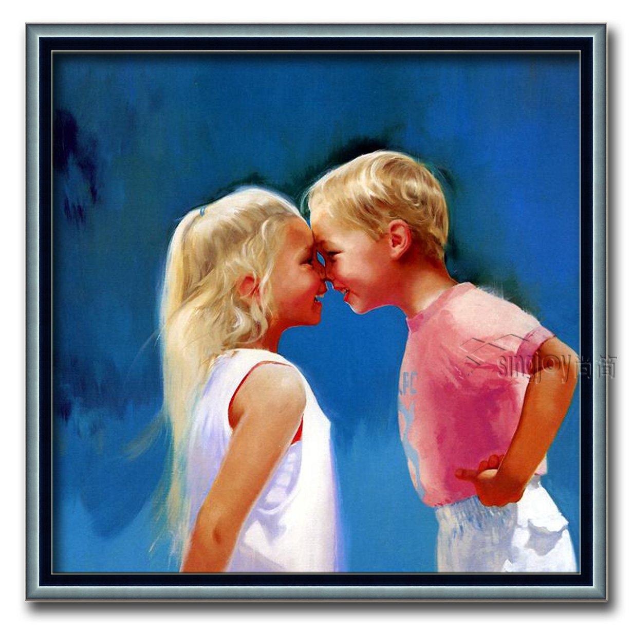尚简 家居客厅欧式壁挂装饰纯手绘儿童油画donald zolan 碰鼻子 七字