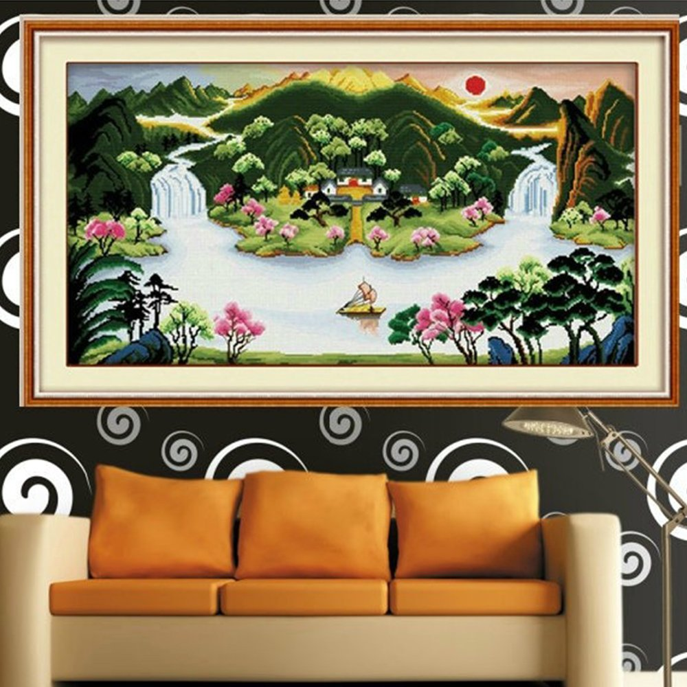 美特卡卡十字绣 风景系列ks- 8524 金玉满堂 最新款客厅大画 精准印