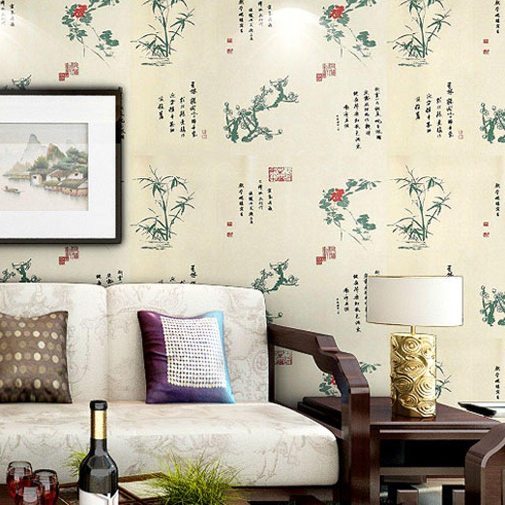 yonga 永佳 中式pvc墙纸竹子客厅电视背景墙古典书房沙发墙贴非自粘图片