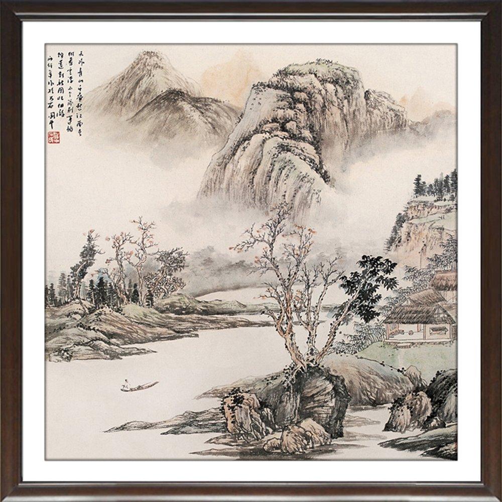 室全室美 四季山水装饰画 国画中式客厅背景墙中国画 茶楼挂画风景画