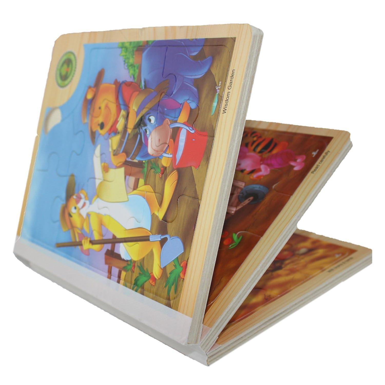 haobei 皓贝 1-3岁小熊木书儿童拼图玩具智慧拼图木制