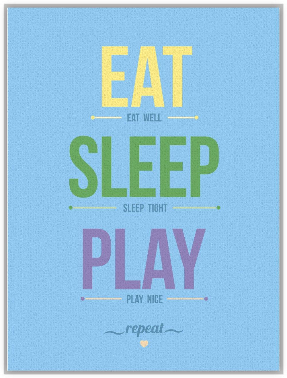 art 轻艺术 图说语录 吃睡玩 b款蓝色 北欧英文字母图片儿童房海报图片