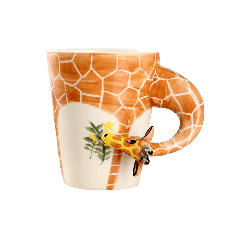 手绘3d立体陶瓷动物杯