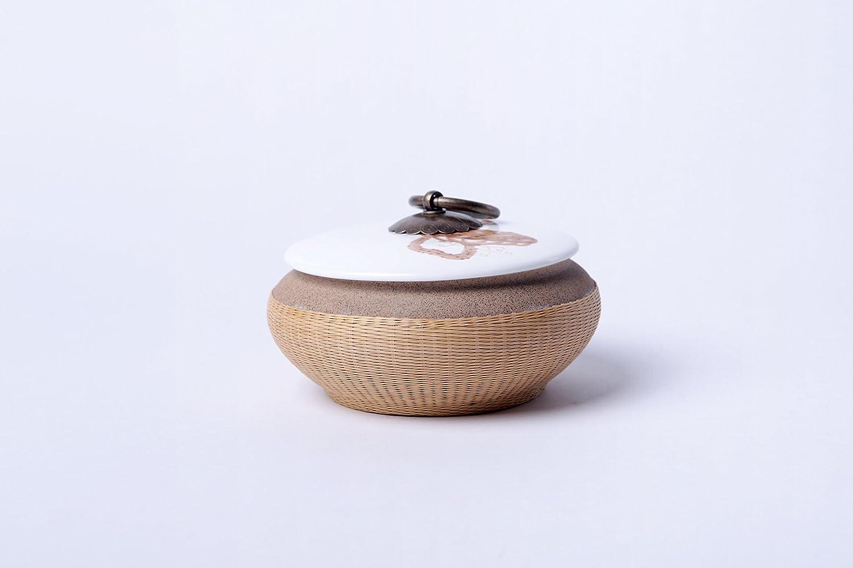 素编定窑手绘莲蓬 创意手工竹丝扣瓷