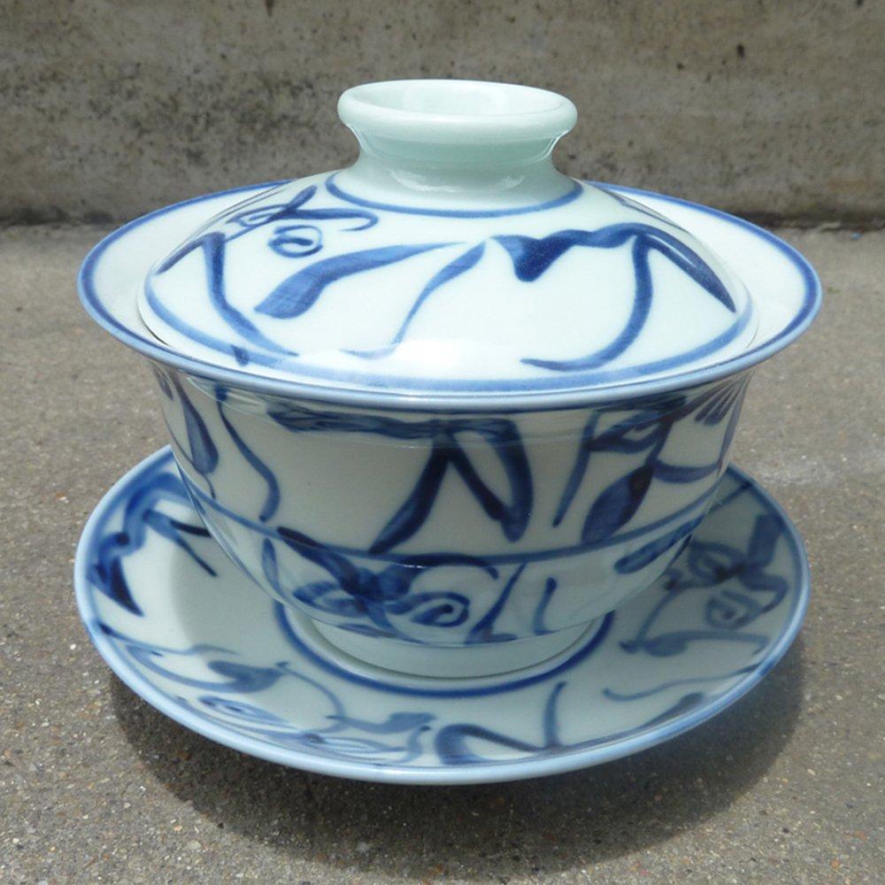 御豪 景德镇陶瓷刀字盖碗茶杯青花手绘茶花手工釉下彩