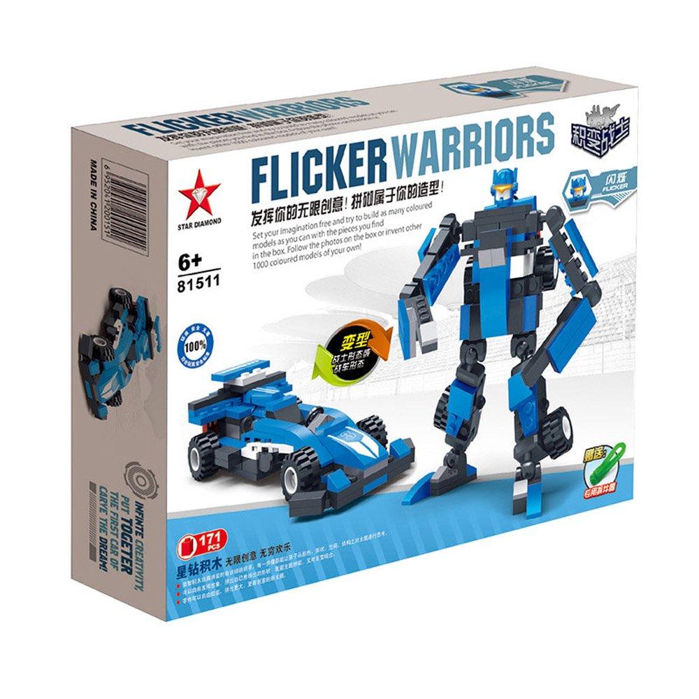 星钻 乐高式拼装积木 儿童玩具赛车汽车 积变战士 闪烁 带起积木器