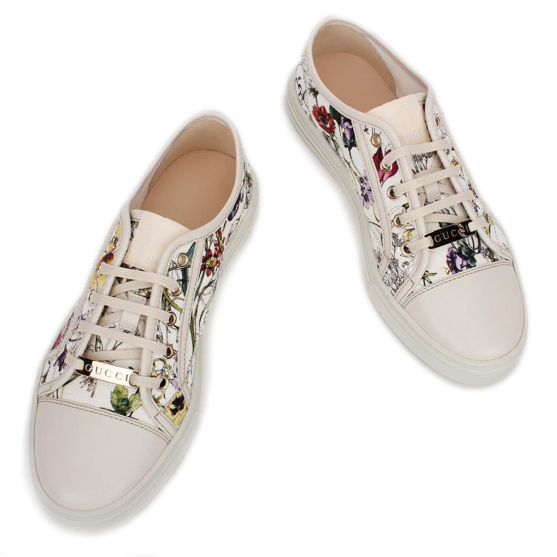 gucci 古驰 女款印花帆布白色运动鞋