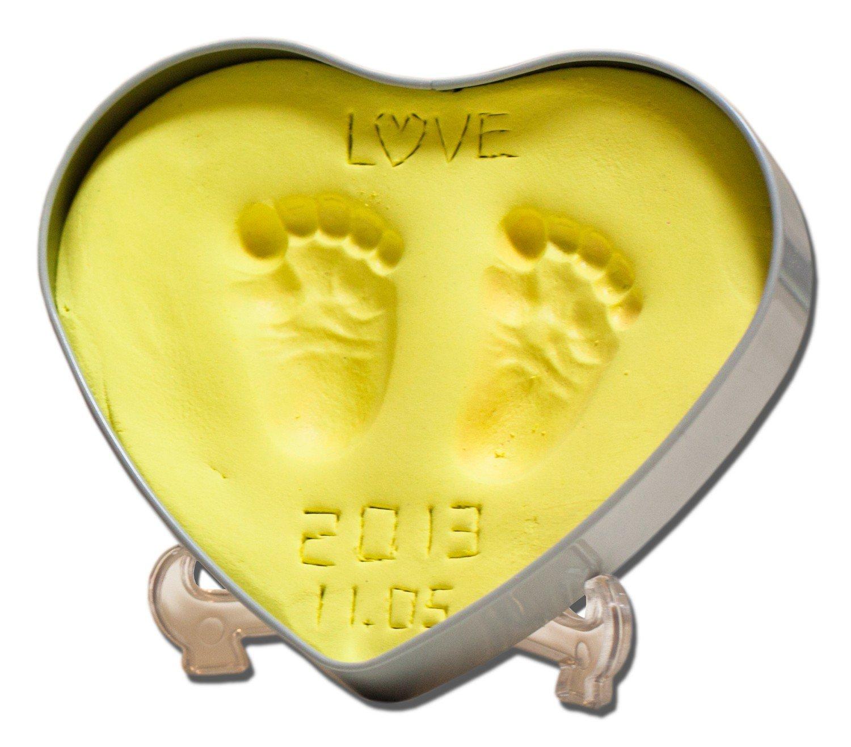 宝宝爱心款手脚印diy纪念品 婴儿手印脚印手足印 (金黄色)