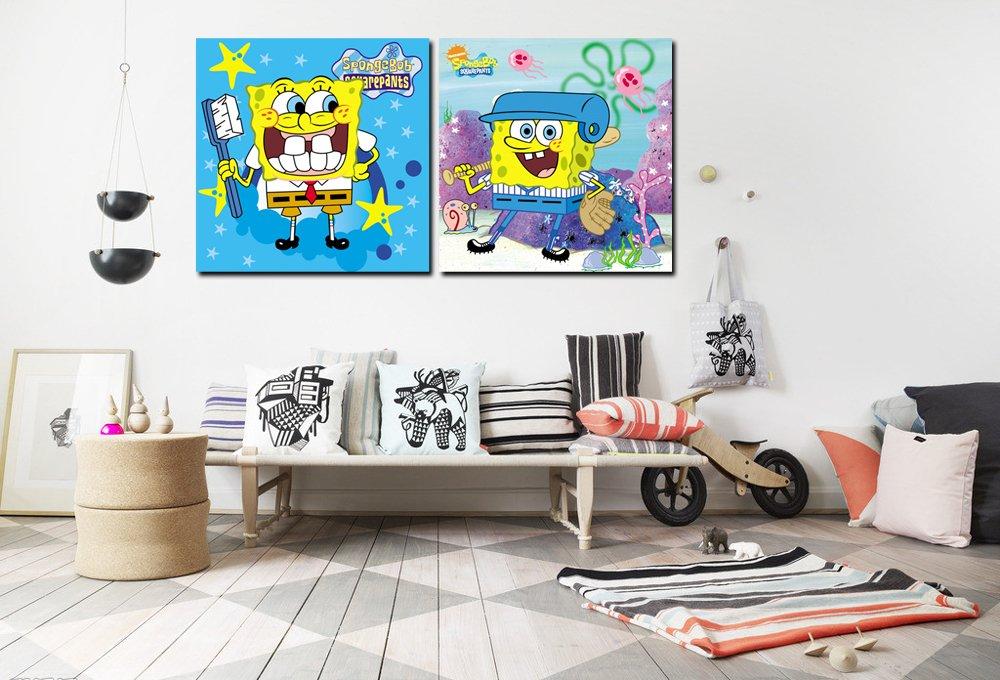 典呈 家居装饰画 无框画 壁画 卧室儿童房挂画 卡通画 海绵宝宝 两件