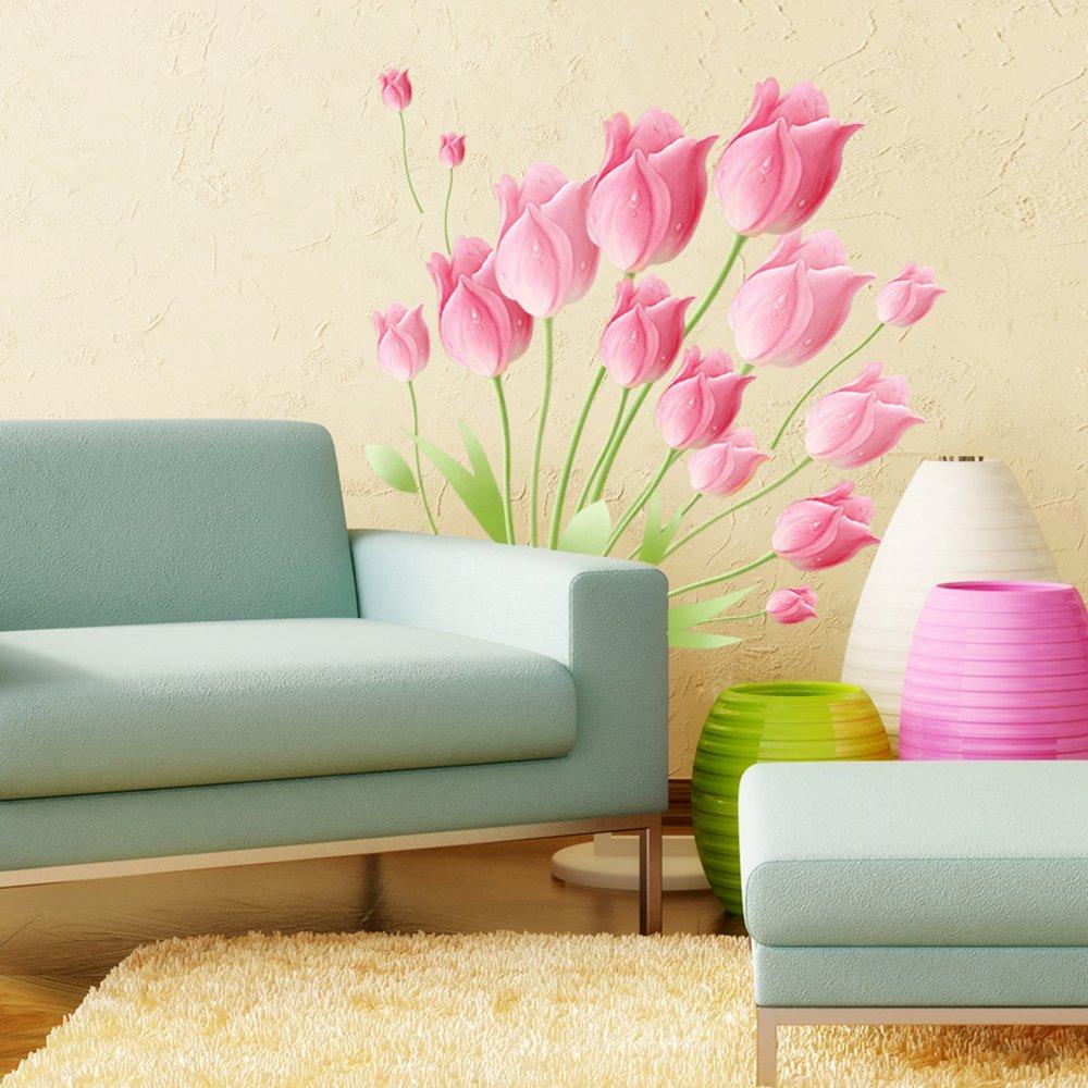 贴画墙贴纸 卧室浪漫温馨婚房床头 客厅电视背景墙壁贴花 郁金香