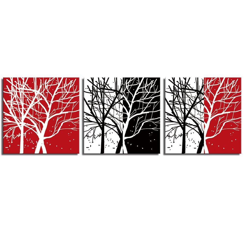 视觉美 室内装饰画背景墙无框联画幸福发财树三联画xm