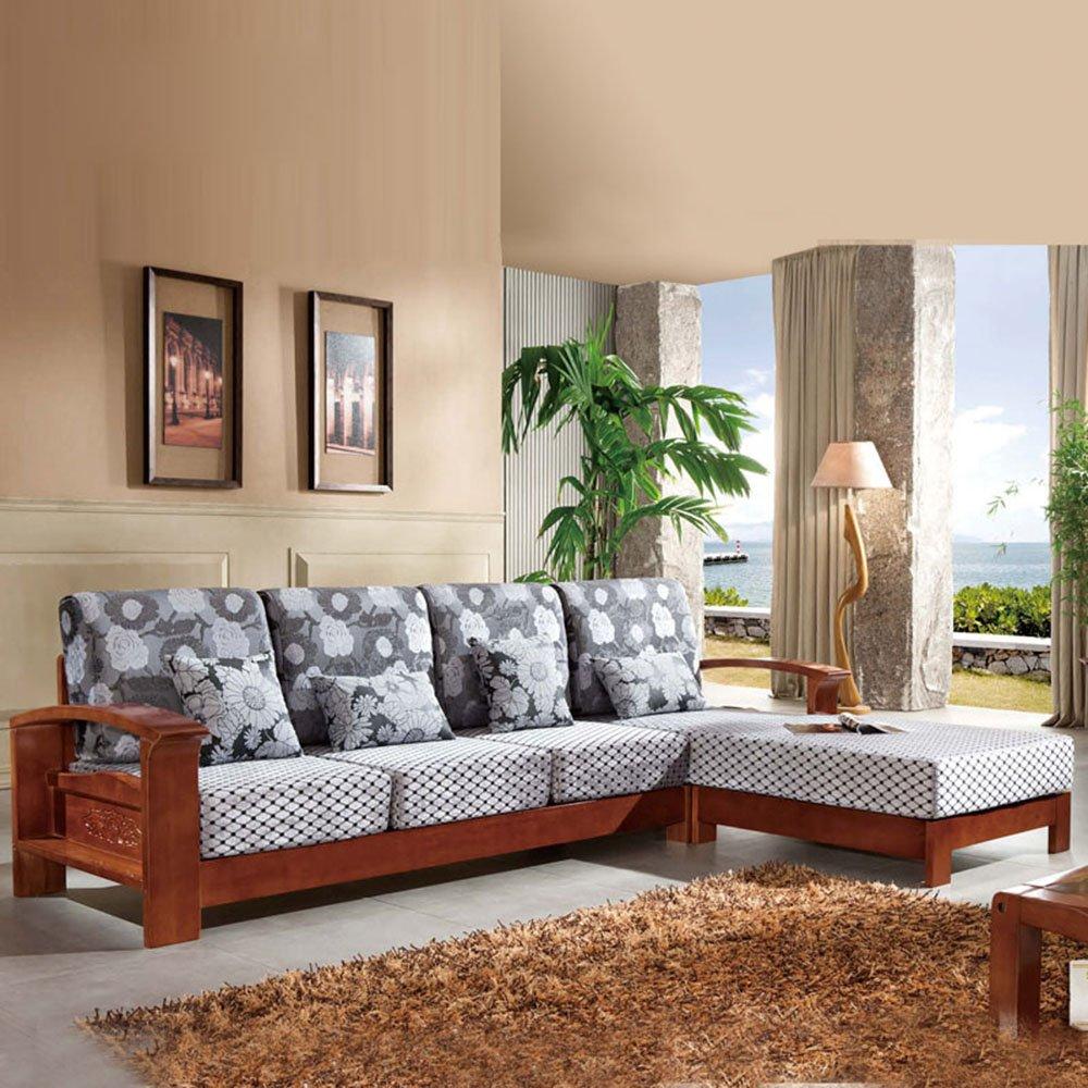 御品工匠 实木沙发 胡桃木组合沙发 组合贵妃转角布艺