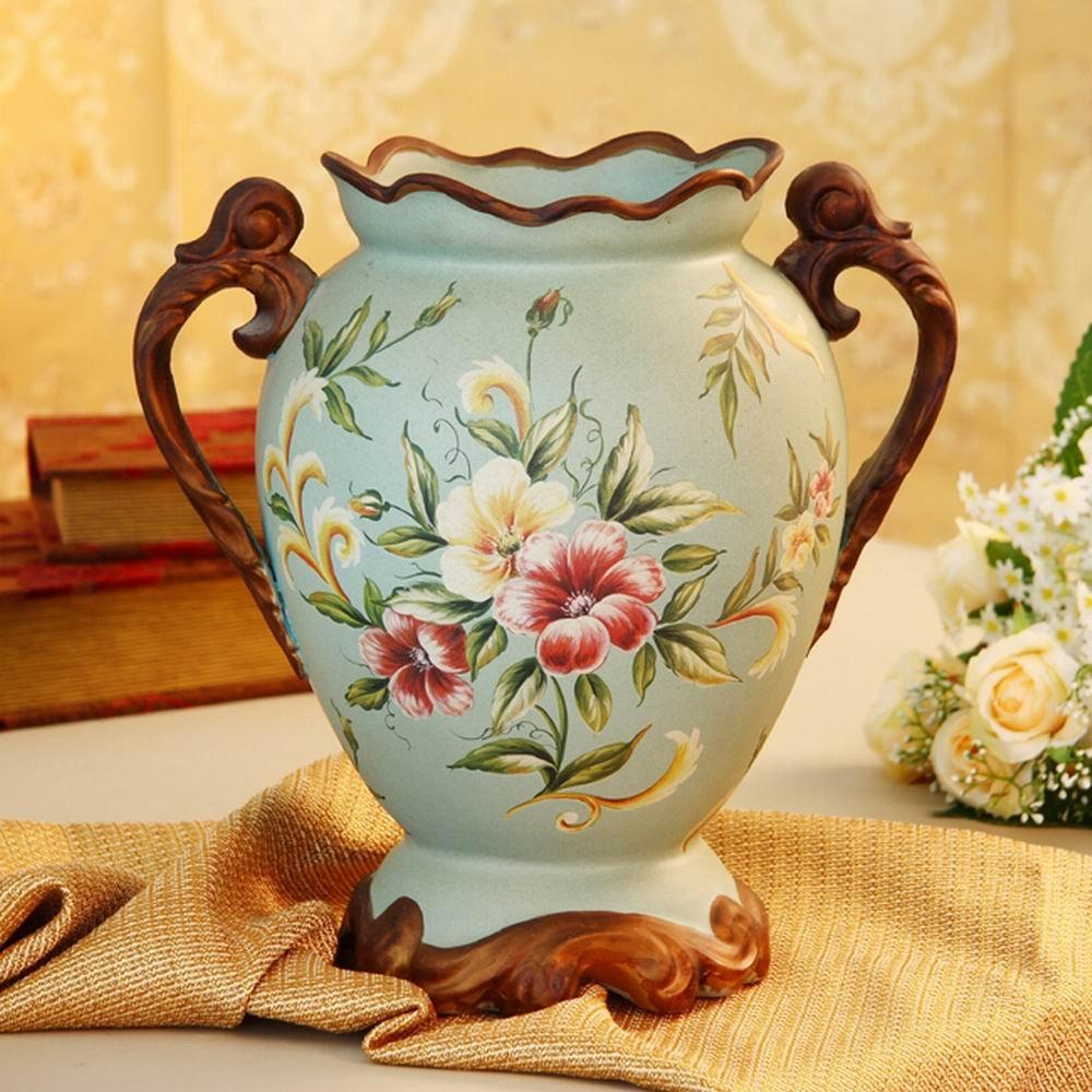 欧式田园陶瓷装饰花瓶现代时尚花器整体仿真图片