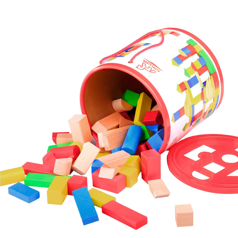 木马智慧 木质益智玩具 积木类 120块积木桶26067(包装升级,随机发货)