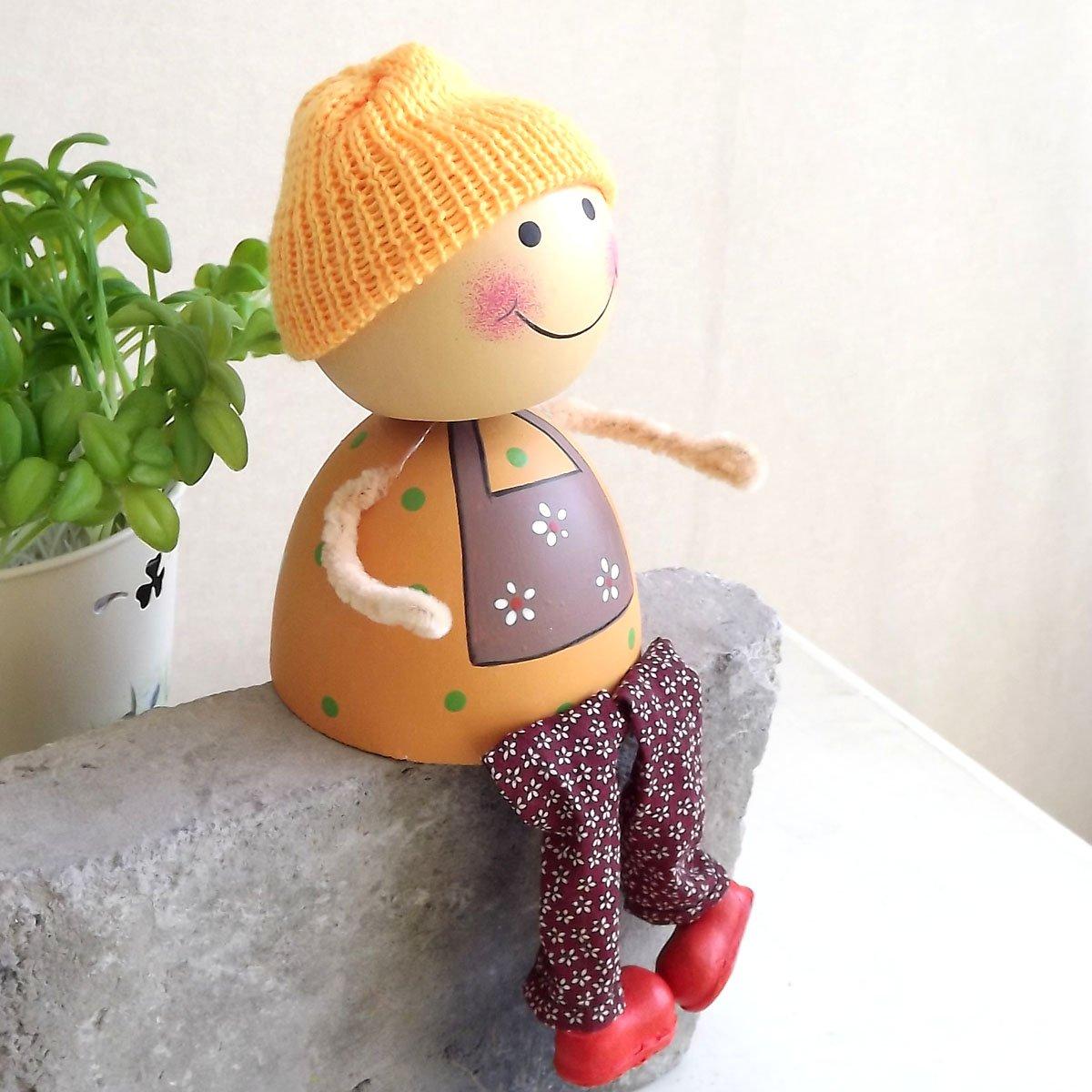 nhanc 侬家手工 田园卡通情侣小娃娃家居装饰摆件纯手工木制娃娃摆设