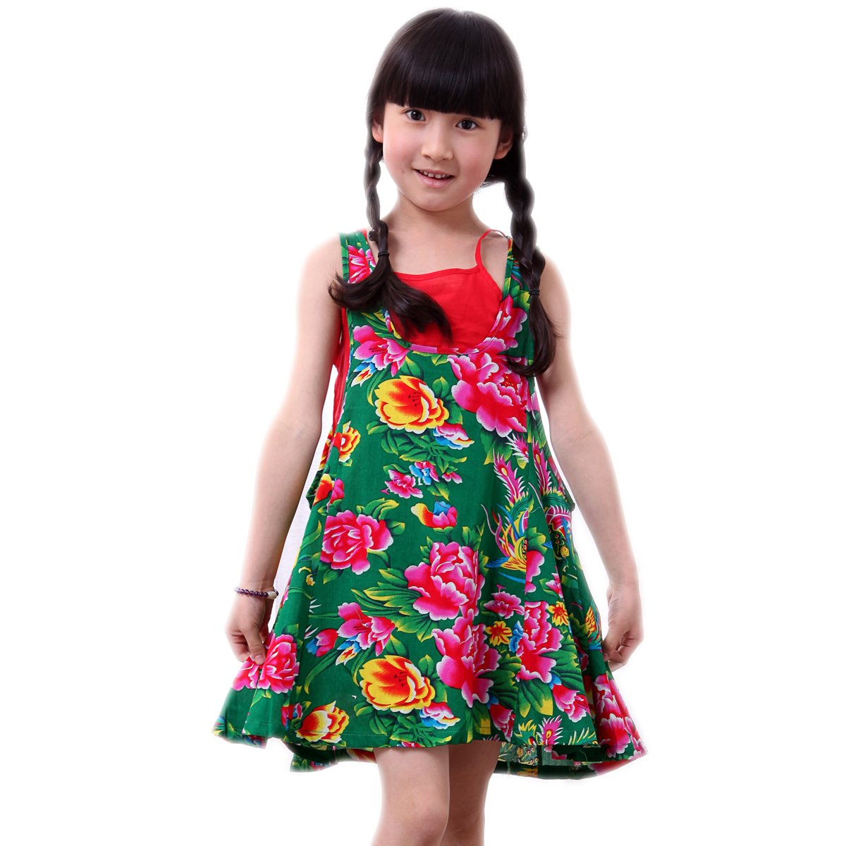 以太儿 夏季民族风纯棉布儿童吊带裙 舞蹈表演服 带小