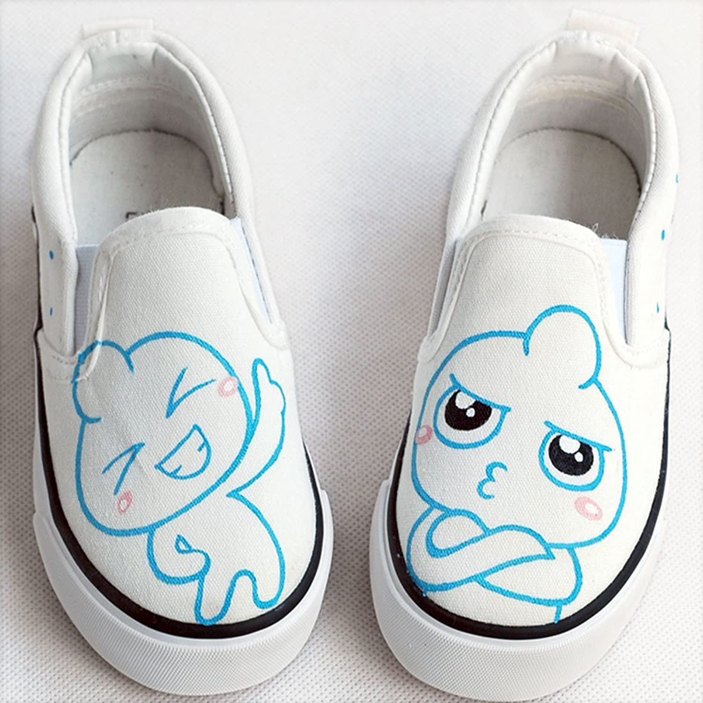 卜丁 经典套脚款宝宝鞋一脚蹬舒适帆布鞋手绘鞋 儿童涂鸦鞋平底鞋 b