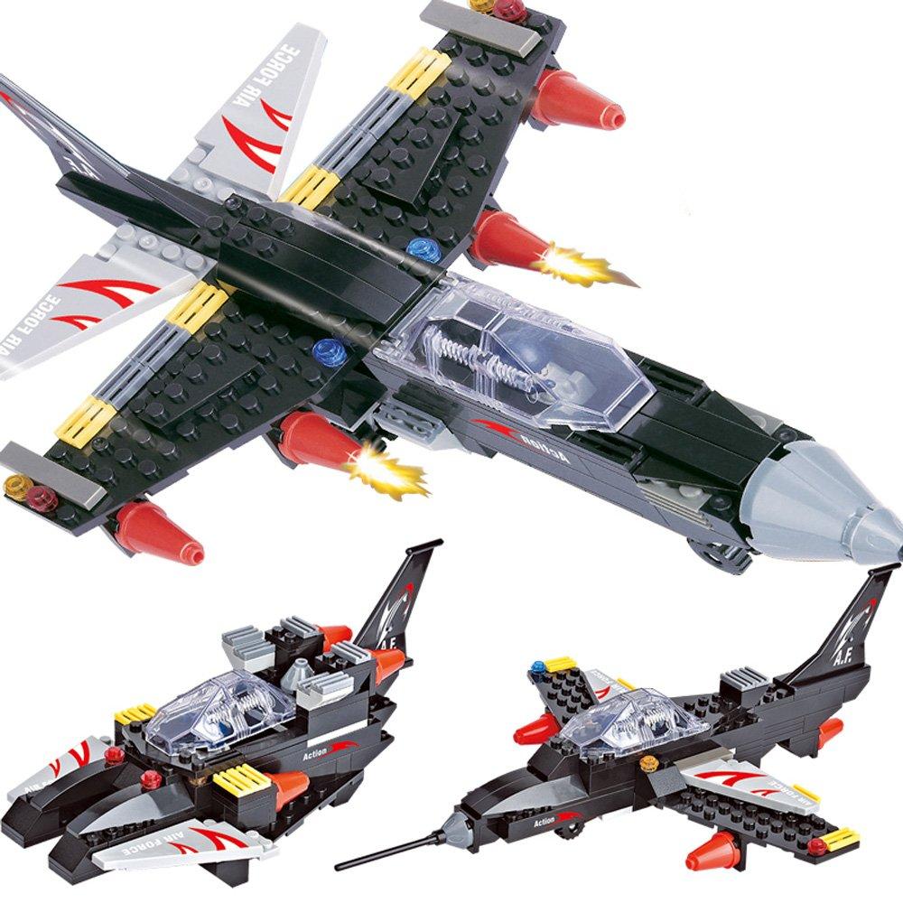 沃马 军事战争3合一益智拼装积木 男孩儿童玩具 超音速战机飞机35425