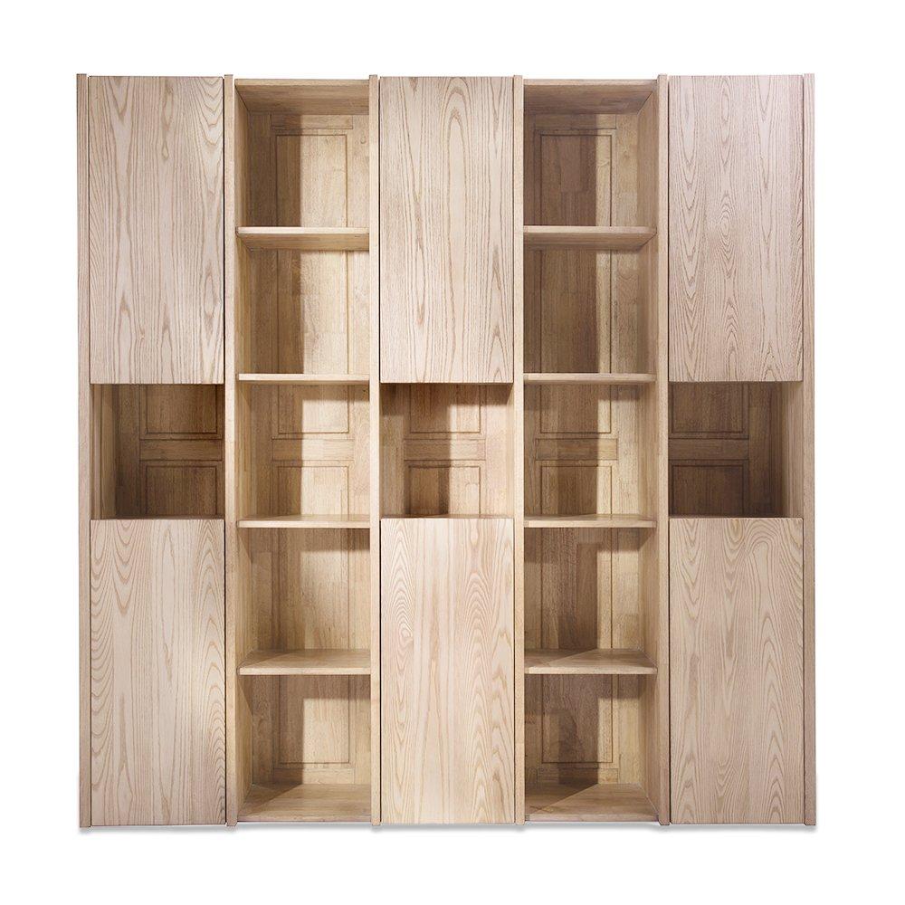 木头公园 100%全实木多置物格组合书柜:亚马