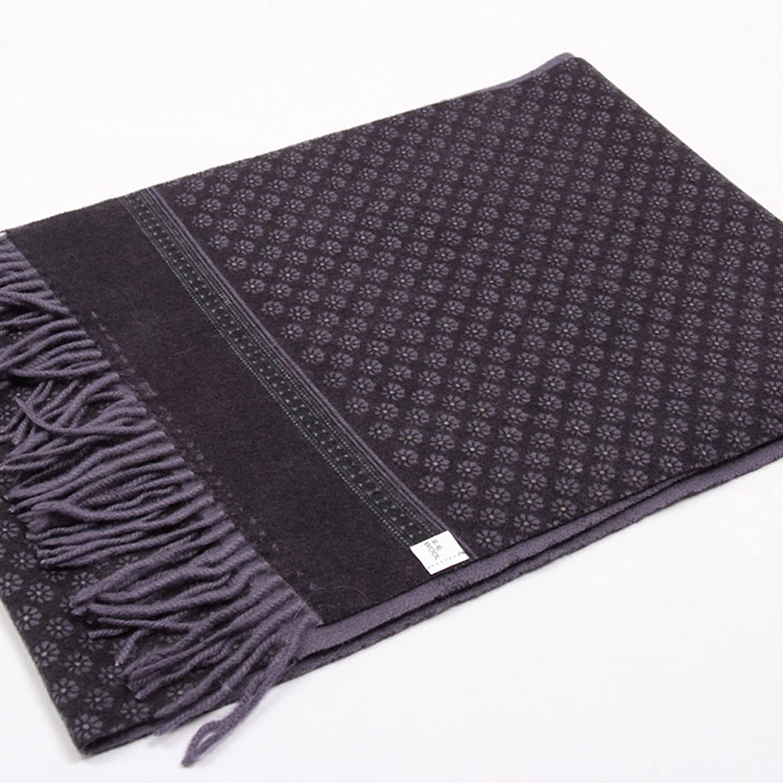 yasn 元心 男士围巾100%澳洲羊毛秋冬保暖加厚舒适雕版印花商务