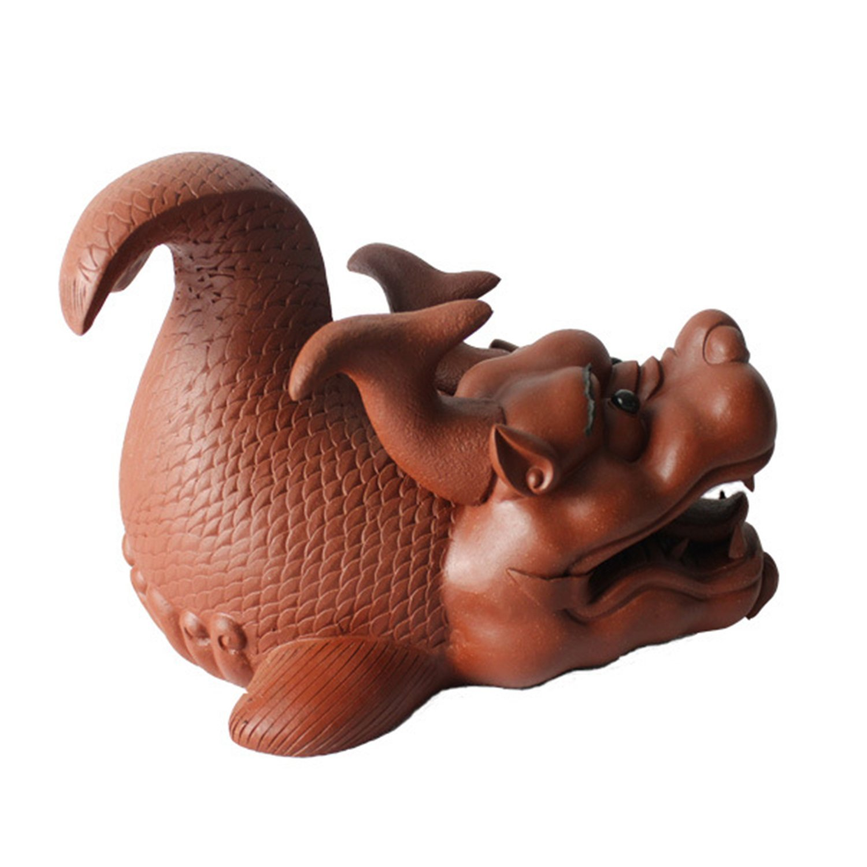 茗瑞堂 宜兴紫砂 茶具 茶道摆件 茶宠 精品雕塑 鱼化龙