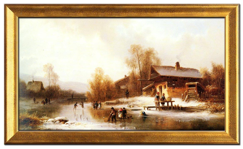 尚简 快乐的冬季 风景油画 家居客厅欧式玄关装饰画纯手绘油画 金色