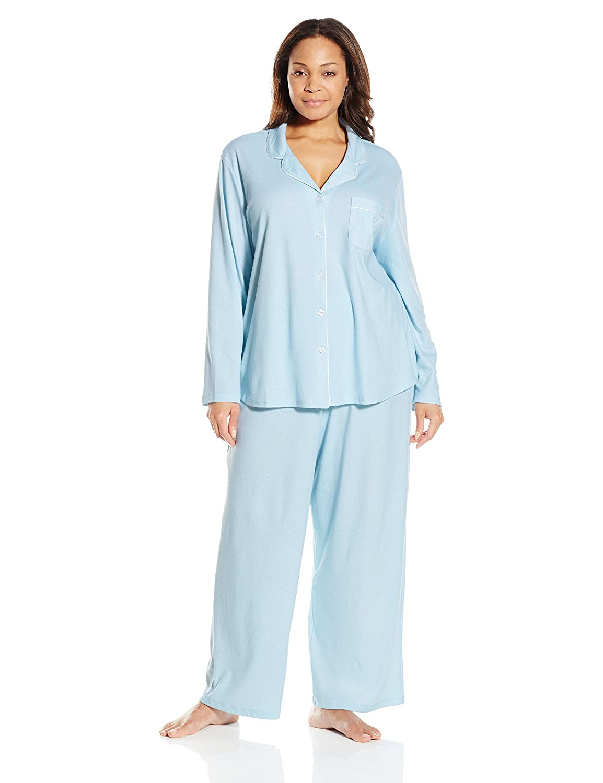 Karen Neuburger Women's Plus-Size Clearwater Blue Dot Print Long Sleeved Pajamas 【Karen Neuburger】 服饰箱包-海外购 美亚直邮
