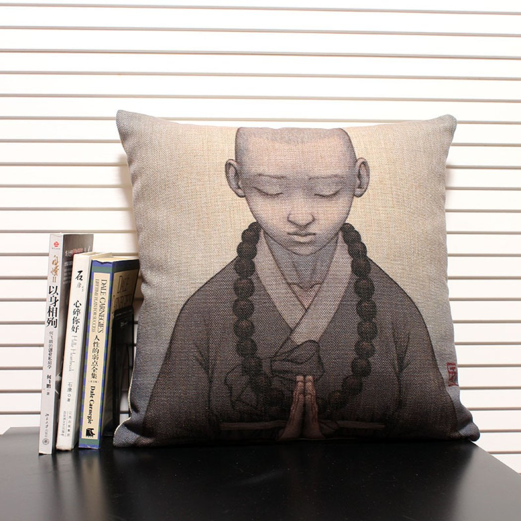 一橙 棉麻抱枕 古典禅意向佛的小和尚棉麻抱枕 东方美学创意靠垫靠枕