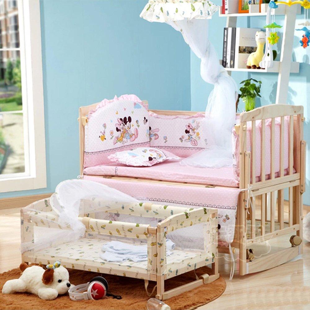 亚马逊 百爱婴儿床实木无漆环保童床 多功能宝宝床带摇篮好孩子必备bb