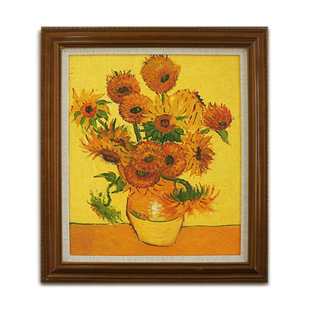 客厅卧室书房装饰画 别墅装饰画 大师油画作品 梵高《向日葵》带框