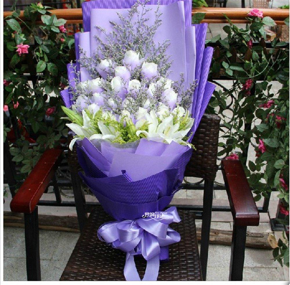 花行天下 全国鲜花速递 33朵白玫瑰加3枝百合